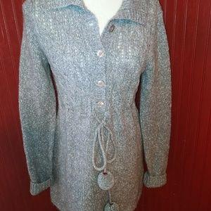 Kaisely Gray Pom Pom Wool Alpaca Sweater L